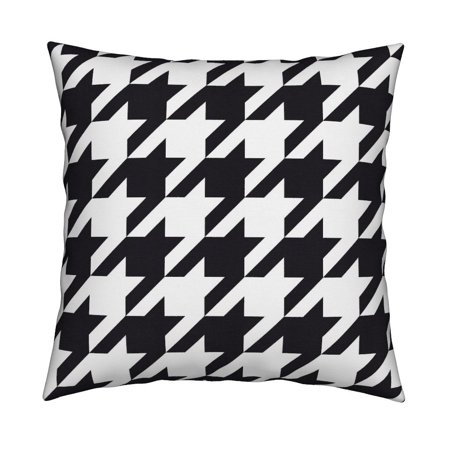 Houndstooth Check (Black + White Houndstooth Check Throw Pillow Cover w Optional Insert by)