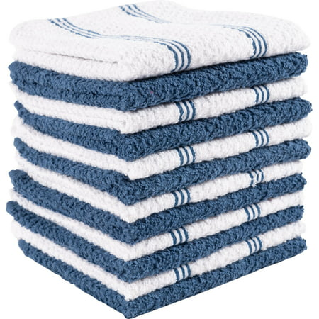 KAF Home Pantry Piedmont Dish Cloths (Set of 12, 12x12 inches), 100% Cotton, Ultra Absorbent Terry Towels (Paris blue, Dish cloth