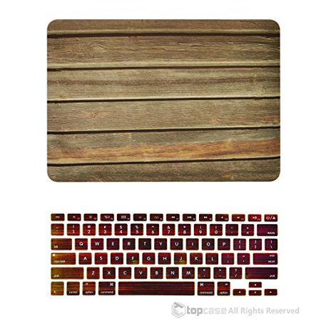Screen Display Horizontal (TOP CASE - 2 in 1 Bundle Deal Retina 13-Inch Horizontal Wood Texture Rubberized Hard Case + Keyboard Cover for MacBook Pro 13