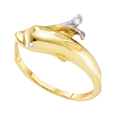 (10kt Yellow Gold Womens Round Diamond Dolphin Fish Animal Wrap Ring .03 Cttw)