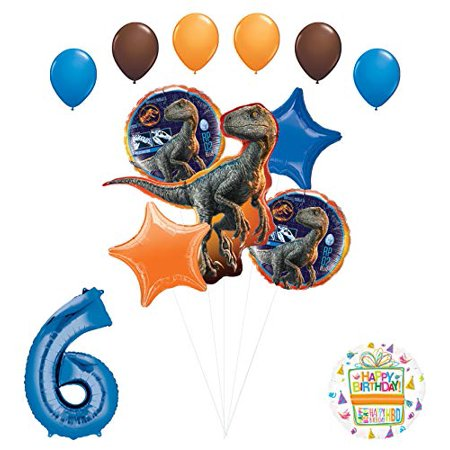 Jurassic World 6th Birthday Party Supplies Raptor Balloon Bouquet Decorations