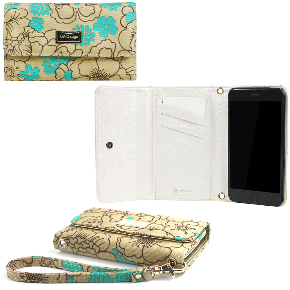 "JAVOedge Poppy Flower Clutch Wallet Case / Card Holder with Wristlet for the   Apple iPhone 6 Plus (5.5"") (Turquoise)"