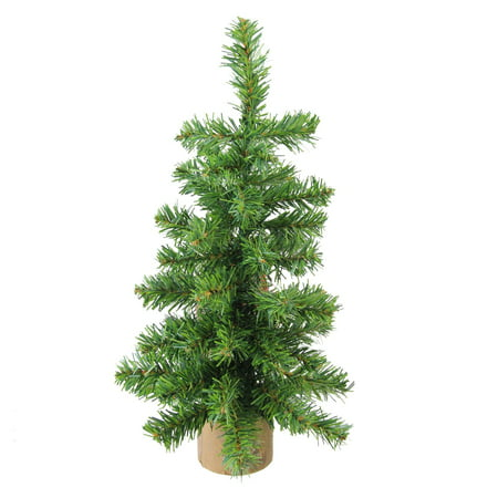"12"" Alpine Artificial Christmas Tree With Wood Base Table Top Decoration - Unlit"