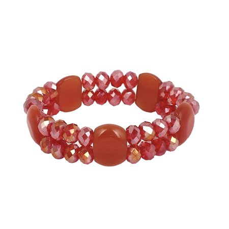 Woman Faux Crystal Decor Round Square Bead Linked Sparkly Elastic Bracelet Red