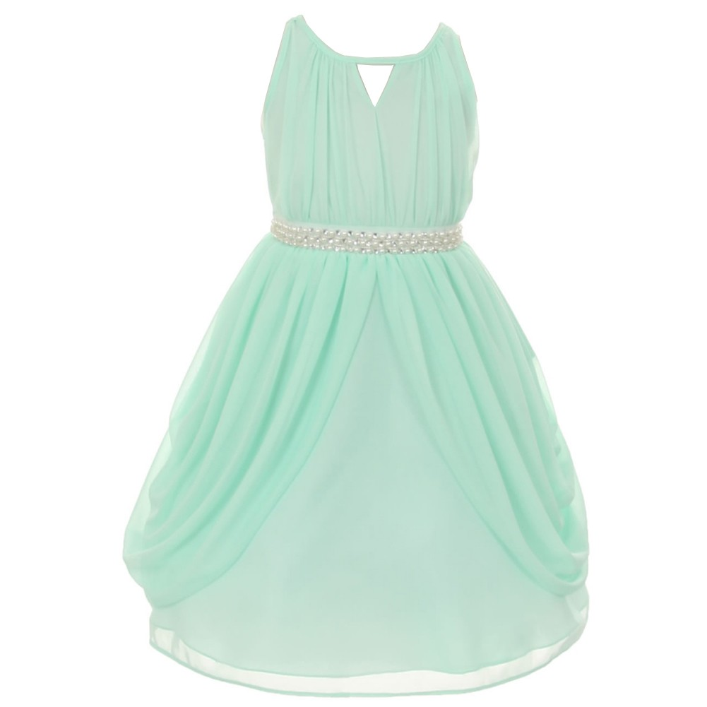 Girls Mint Chiffon Pearl Sash Flower Girl Special Occasio...