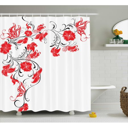 Red And Black Shower Curtain Japanese Asian Design Flowers Swirls Ivy Leaves Butterflies Image
