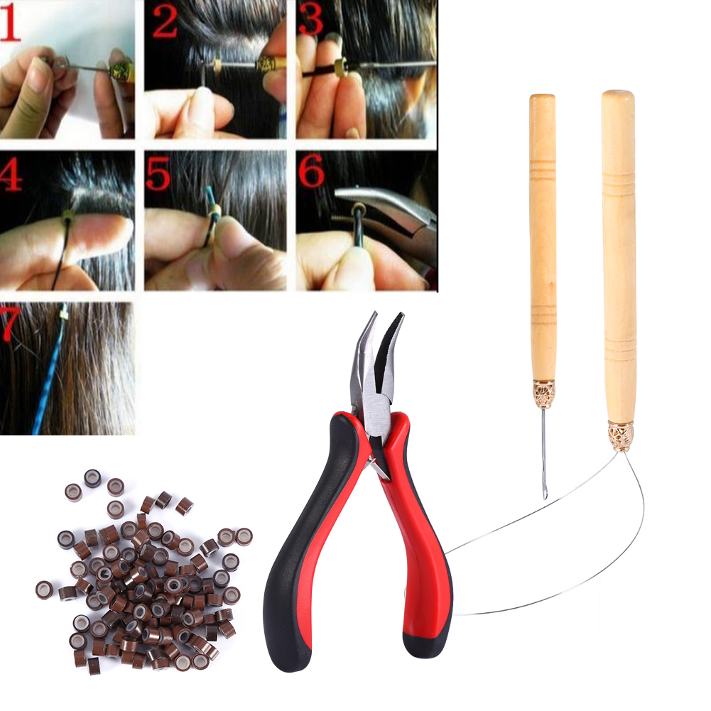 HURRISE 100PCS Silicone Beads Hair Extension Micro Rings and Hook Needle and Pulling Loop and Plier Tool Kit,Hair Extension Tool