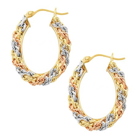Fremada 14k Tricolor Gold Diamond Cut Oval Macrame Hoop Earrings