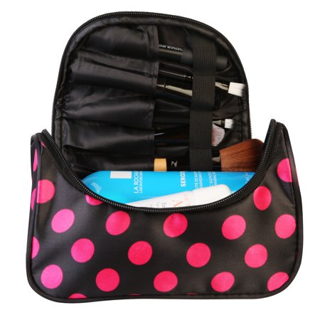 Travel Cosmetic Makeup Organizer Bag With Mirror Pink
