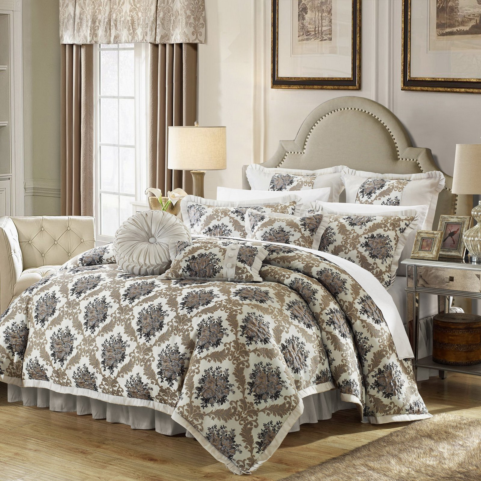 Chic Home 9-Piece Zanotti Decorator Upholstery Quality Jacquard Floral Fabric Complete Master Bedroom Comforter Set