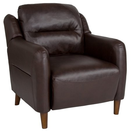 Newton Hill Flash Furniture Upholstered Bustle Back Arm Chair in Brown Leather