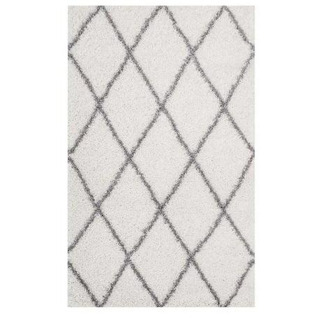 Modway Toryn Diamond Lattice 5x8 Shag Area Rug in Ivory and Gray ()