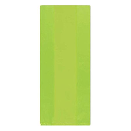"Festive Large Cellophane Kiwi Green Party Favour and Treat Bags, 14"" x 5.3"", Pack of 25."
