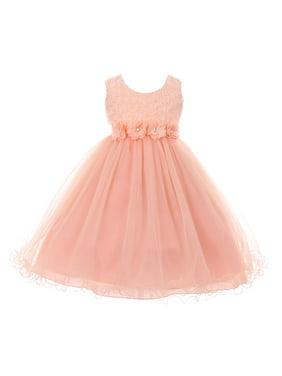 Little Girls Blush Pink 3D Flower Top Wired Tulle Skirt Flower Girl Dress