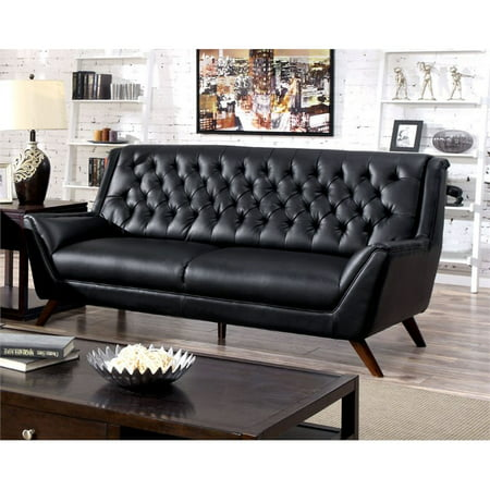 Furniture of America Mayfield Tufted Leather Sofa in Black - Walmart.com