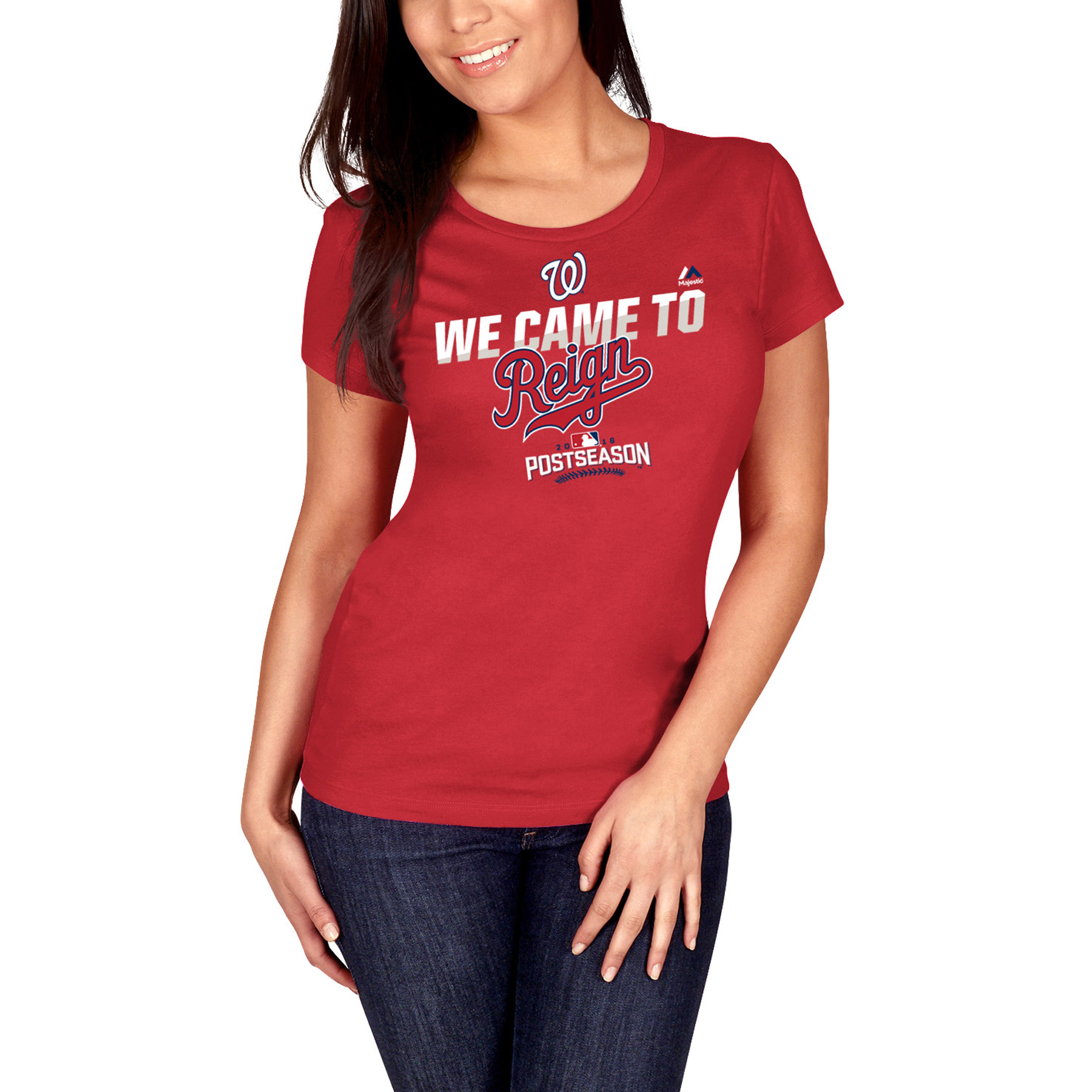 Washington Nationals Majestic Women's 2016 Postseason Participant We Came to Reign Authentic Collection T-Shirt - Red