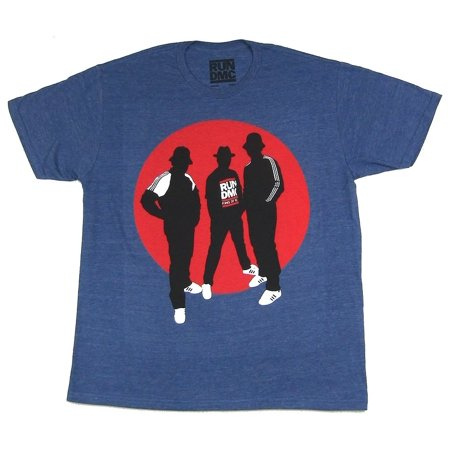 Run DMC Silhouettes Circle Heather Blue T Shirt](Run Dmc Costume)