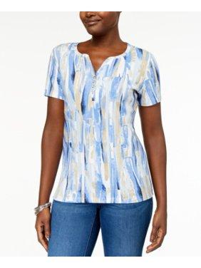 fff81632feed7 Product Image Karen Scott Women s Printed Henley T-Shirt Size XS