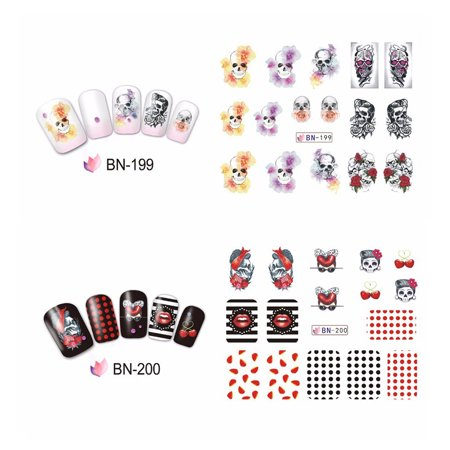 Lv. life Halloween Bone Transfer Nail Art Sticker Polish Decal Manicure Decoration Accessory, Manicure Transfer Foil Sticker - Cute Halloween Manicure