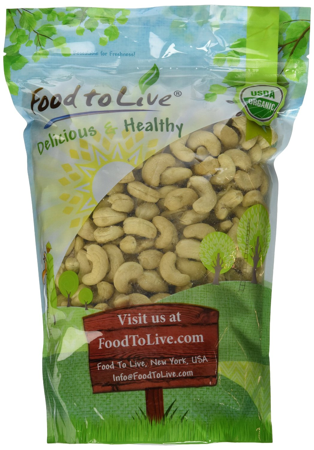 Food To Live Organic Cashews (Whole, Raw) (2 Pounds) by Food To Live
