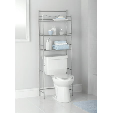 Mainstays 3-Shelf Bathroom Over the Toilet Space Saver with Liner, Satin Nickel ()