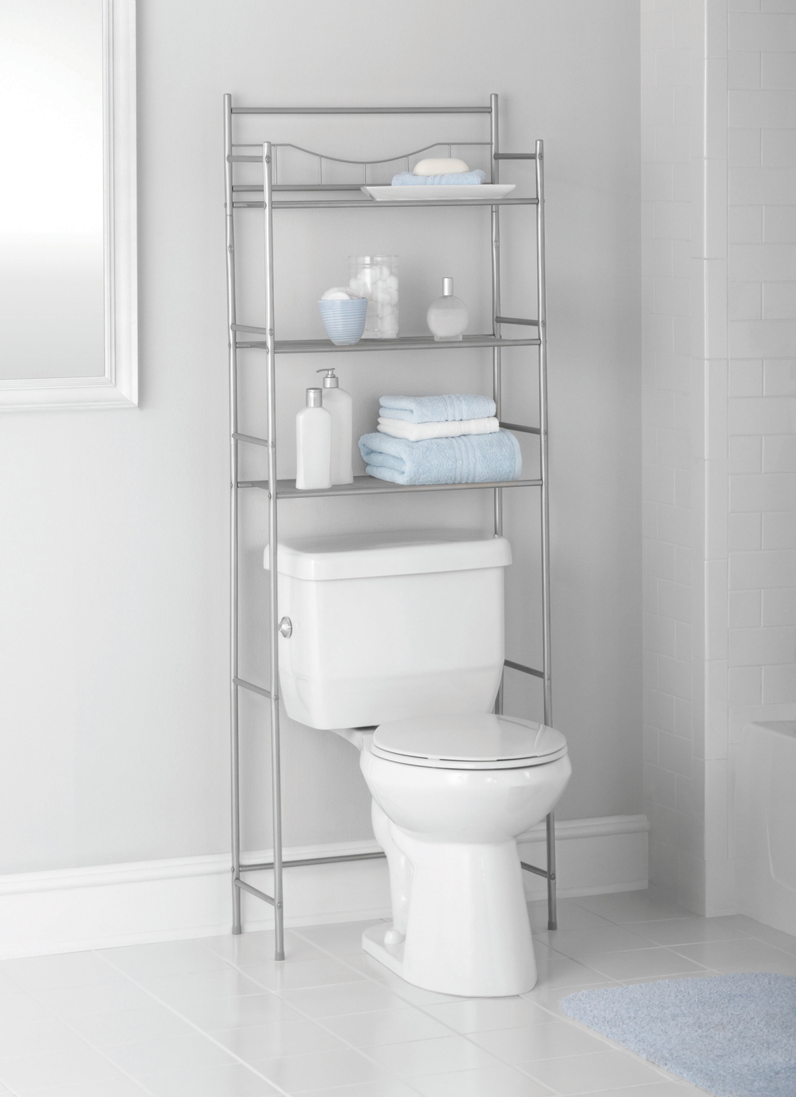 Mainstays 3 Shelf Bathroom Over The Toilet Space Saver With Liner, Satin  Nickel