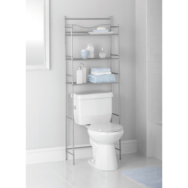 Mainstays 3 Shelf Bathroom Over The Toilet Space Saver With Liner Satin Nickel Walmart Com Walmart Com