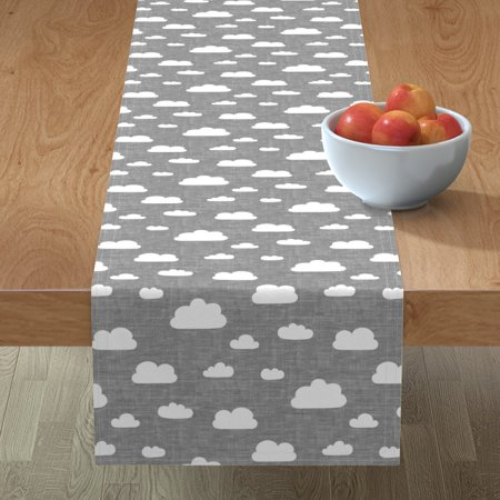 Image of Table Runner Clouds In Cloud Sky Textured Cotton Sateen