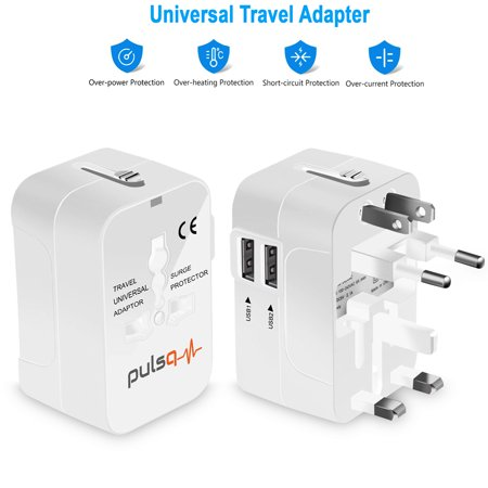 Travel Adapter, Cellularvilla Worldwide All in One Universal Travel Adaptor Wall AC Power Plug Adapter Wall Charger with Dual USB Charging Ports Sync for USA EU UK AUS Cell Phone Laptop