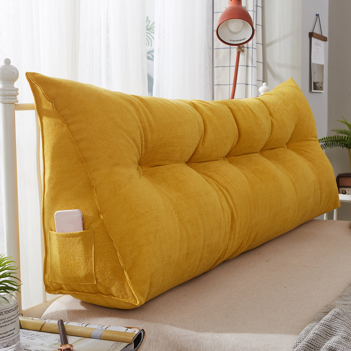 2D8V Triangle Cushion Sofa Pillow Reading Pillow Wedge Pillow for Bed and Couch Back Support Lumbar Pillow Removable Washable Color : A, Size : 45x45x20cm