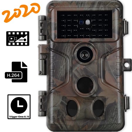 【2020 New】Game Trail Camera with 100ft Night Vision Full HD 20MP Photo 1920x1080P H.264 Video Motion Activated Waterproof No Glow Deer Hunting Cam 0.1S Trigger Speed Time Lapse Password Protected thumbnail