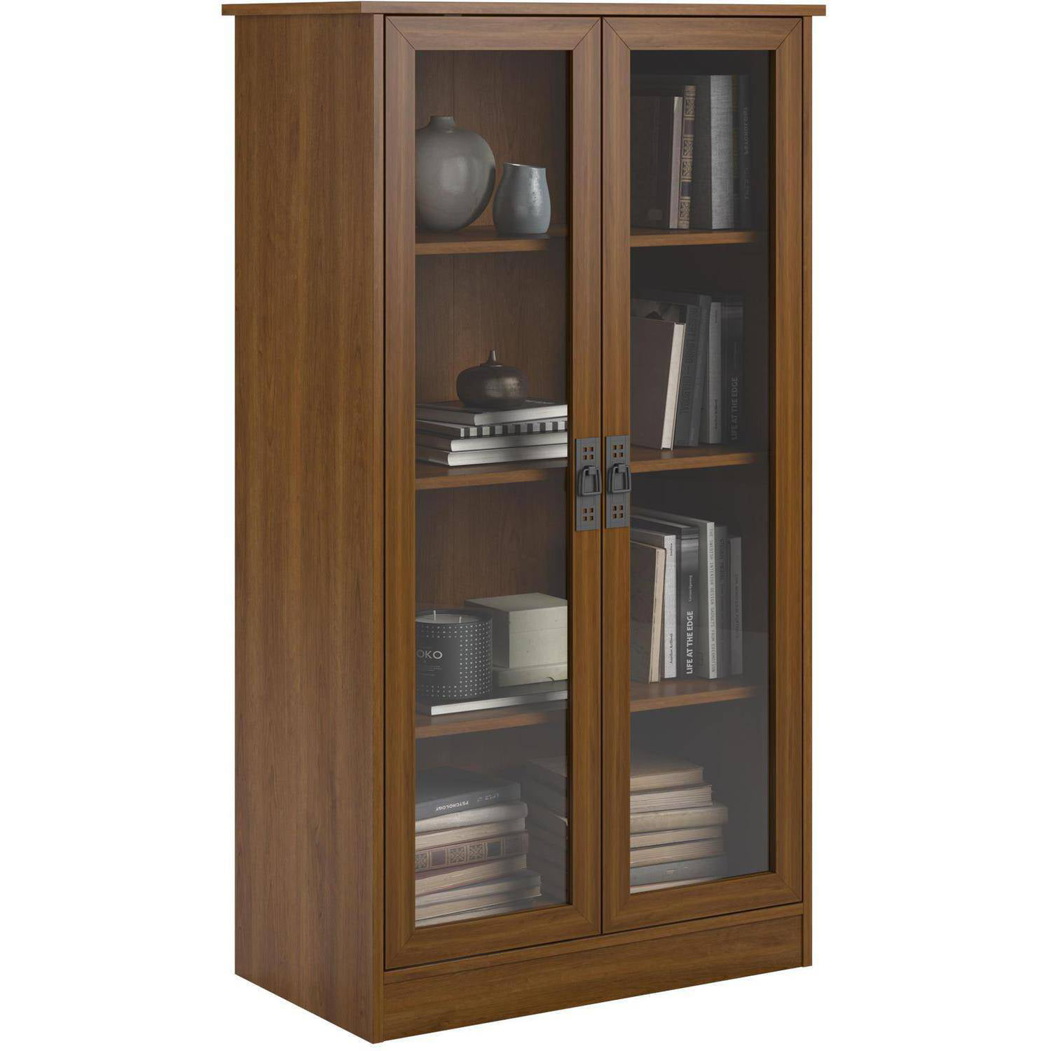 shelves home and tall bookcase bookcases wall wooden glass doors itm with bookshelf vertical