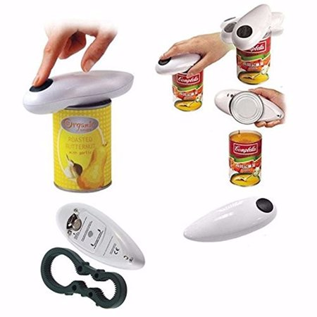 - Electric Can Tin Bottle Opener One Touch Automatic No Hands Battery Operated White High Quality