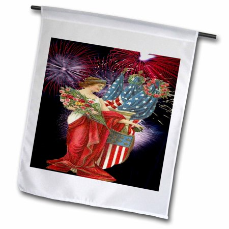 3dRose Vintage Lady and Fireworks - Garden Flag, 12 by 18-inch