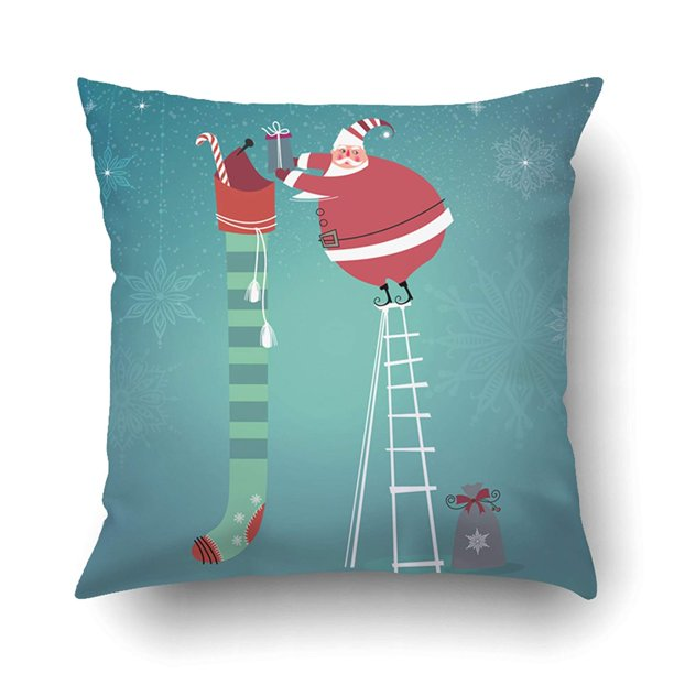 Artjia Xmas Cute Santa Claus On Ladder Putting Gifts Into