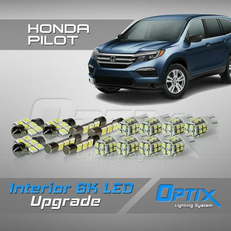 - Optix 15pc 2016+ Honda Pilot LED Interior Light Package Replacement Set - White
