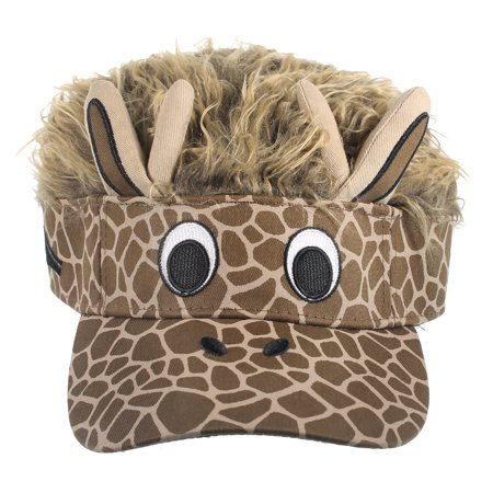 GIRAFFE FACE VISOR - Brown Flair Hair - GAG COSTUMES - Mens Giraffe Costume