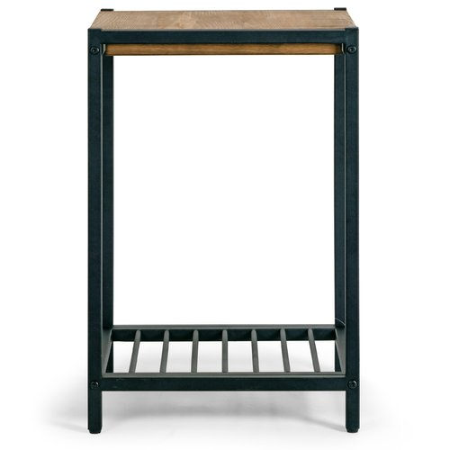 Ailis Brown Pine Wood Black Metal Frame End Table Accent Table by Glamour Home