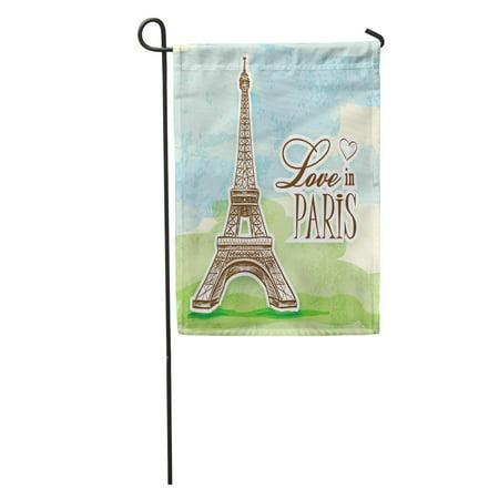 Eiffel Tower Cut Out (KDAGR Effel Love in Paris Efel Eiffel Tower is Colorful Cut Eifel Tour Amour Garden Flag Decorative Flag House Banner 12x18)