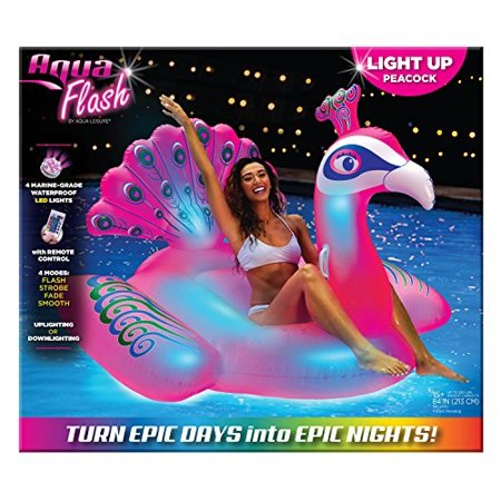 aqua splash princess peacock led light up pool float oversized, remote control, inflatable ride on, ages 15 and up, pink