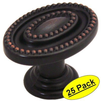 Bronze Oval Cabinet - Cosmas 4886ORB Oil Rubbed Bronze Oval Beaded Cabinet Knob, 25 pack
