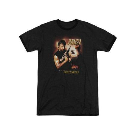 Delta Force 2 MGM Chuck Norris Film Colonel Scott McCoy Adult Ringer T-Shirt Tee