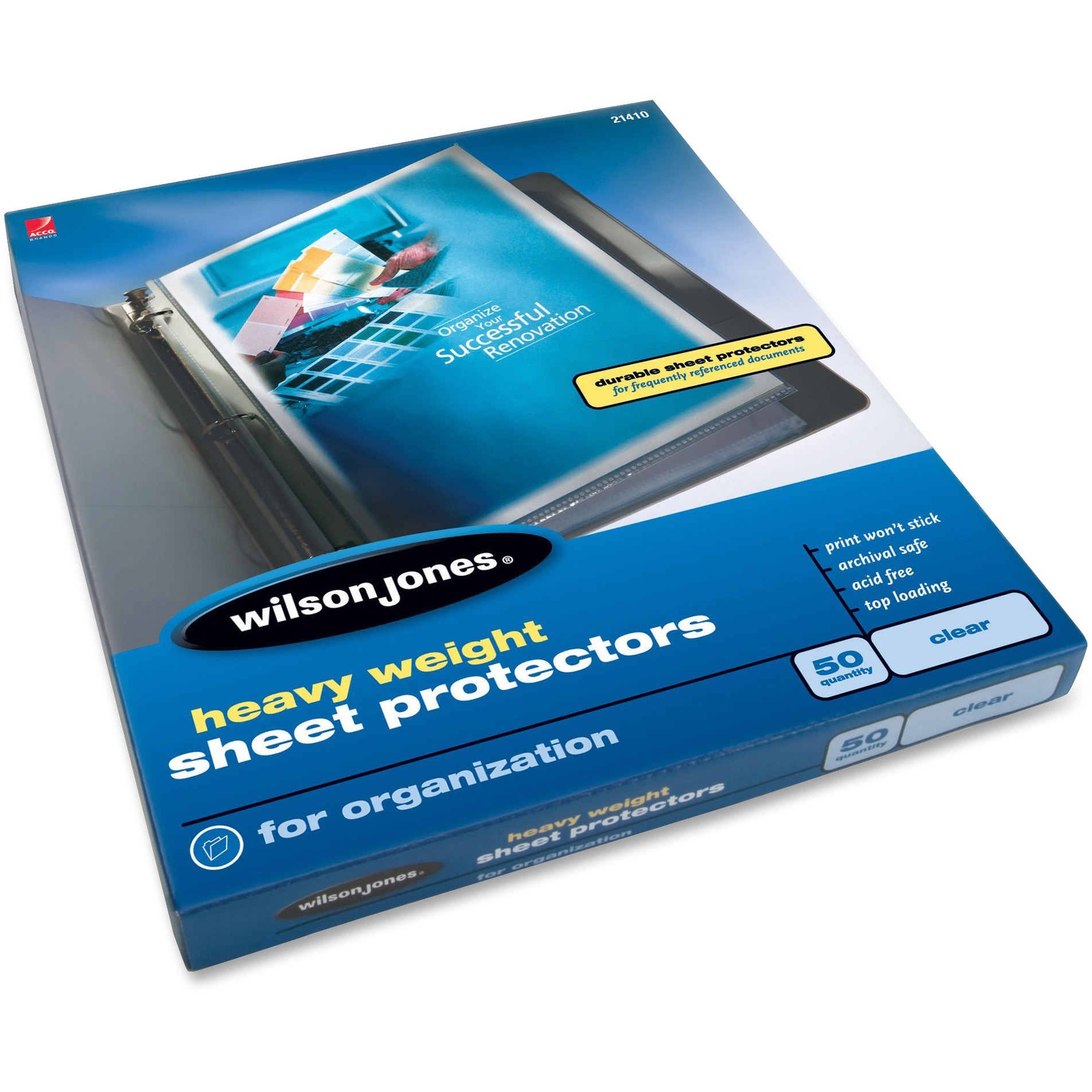 Wilson Jones, WLJ21410, Heavyweight Top-load Document Sleeves, 50 / Box, Clear