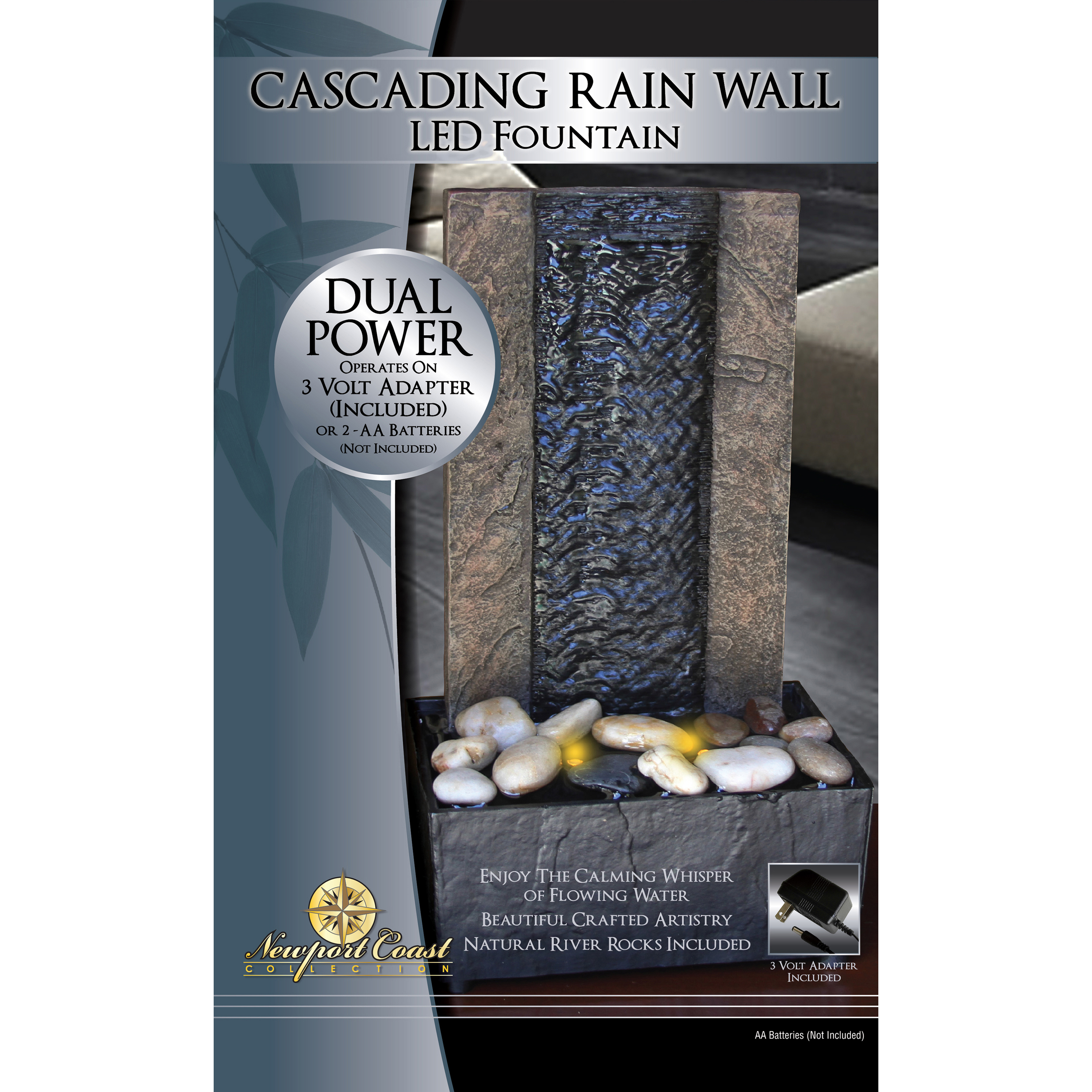 Newport Coast Collection Cascading Rain Wall LED Fountain
