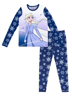 Frozen Poly Spandex Top and Pant Thermal Underwear Set, (Little Girls & Big Girls)