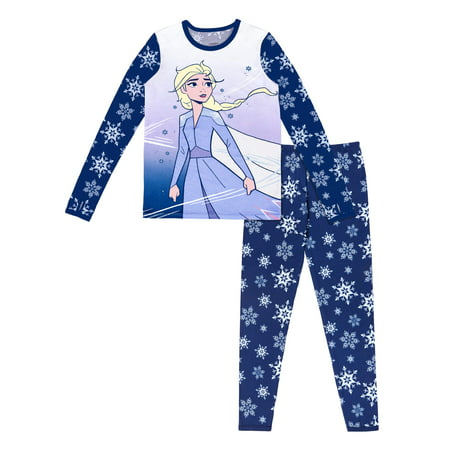 Disney Frozen Poly Spandex Top and Pant Thermal Underwear Set, (Little Girls & Big Girls)