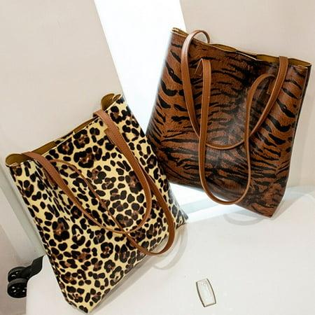 Women Messenger Cross Body Handbag Ladies Leather Hobo Bag Shoulder Bag Purse Tiger Print Handbag