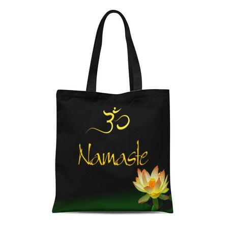 POGLIP Canvas Tote Bag Pixdezines Lotus Namaste Om Meditation Zen Shoppe Age Reusable Handbag Shoulder Grocery Shopping Bags - image 1 de 1