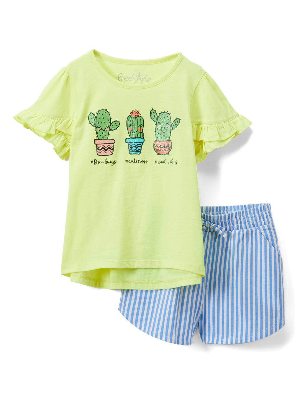 Ruffle T-shirt and Striped Shorts, 2pc Outfit Set (Toddler Girls)