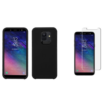 - Dual Layer Armor Hybrid Protector Phone Case Cover (Black) with Bubble-Free Tempered Glass Screen Protector and Atom Cloth for Samsung Galaxy A6